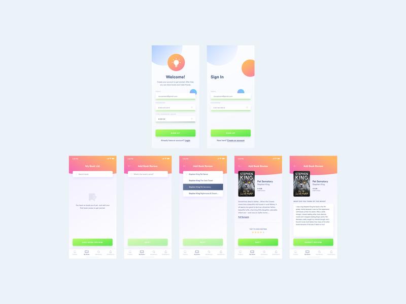 Book App Screens 1 book app ui