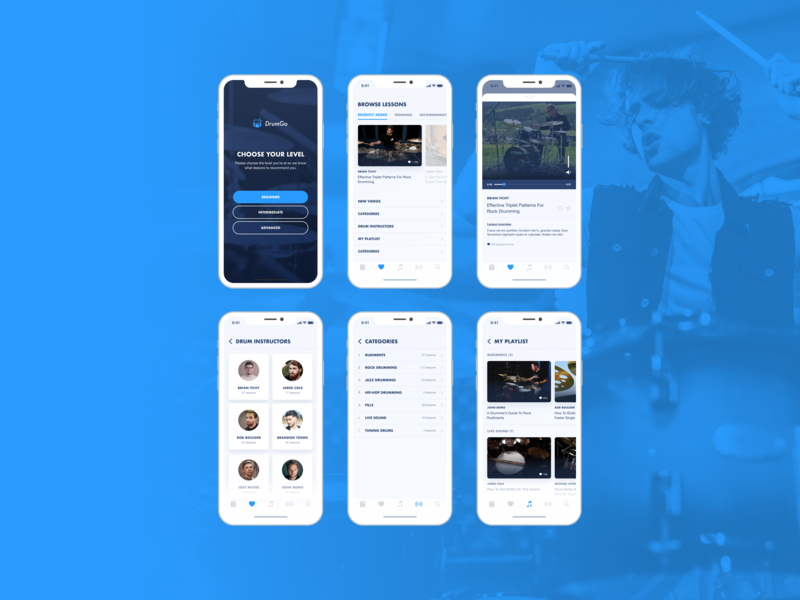 DrumGo App UI video app music app lessons app drum lessons drum app mobile app ux mobile app ui