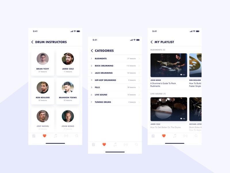 DrumGo App UI [Alternate UI Exploration 2] app interface interface figma clean design mobile phone app app ui app ux ux ui