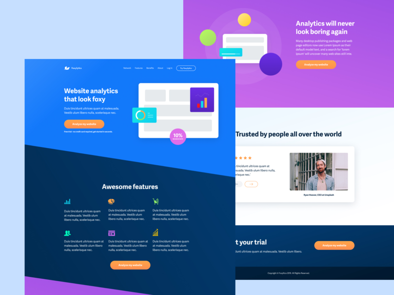 Foxylitics Marketing Page app ux page app template landing ux ui analytics landing page home page landing page