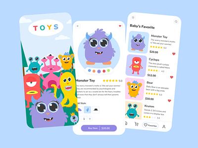 Monster Toy Store ecommerce design clean mobile online store ecommerce toyshop monster toystore illustration ux app figmadesign design figma fi branding ui online shop