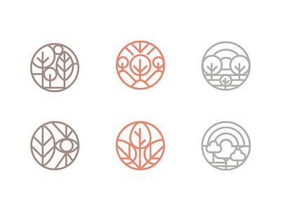 Nature symbol logo symbol esthetic green forest eye line icon tree nature