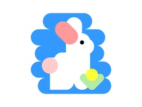 Flat cute bunny icon
