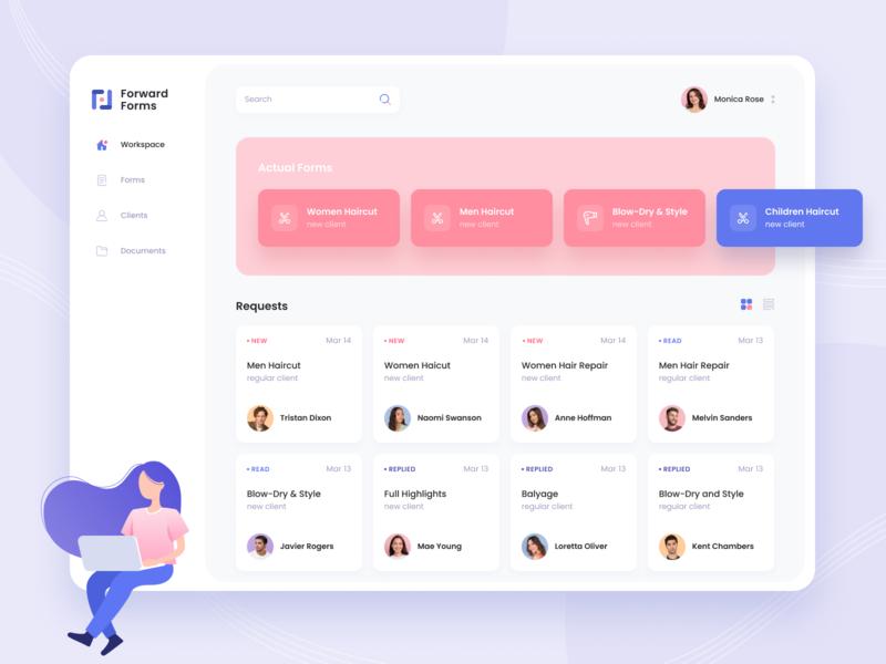 Web App Forward Forms typography questionnaire workspace violet pink gradient web app design service provider beauty beauty industry desktop ux design ui design web app design app web ux ui