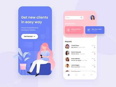 Mobile App Forward Forms visual design violet pink gradient beauty industry typogaphy workspace app mobile app ux design ui design ux ui design mobile ui mobile