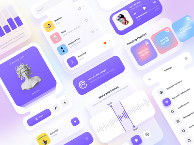 UI Widgets & Components ui kit components mobile visual design gradient app design ux design ui design ux ui