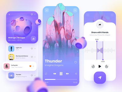 Music Player • Mobile Application playlist tracks music share player audio illustration music player blur design gradient visual design mobile design mobile application app ux design ux ui design ui