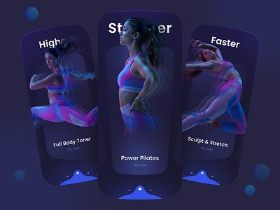 Fitness Social App blur tiles training app sport dark theme fitness workout pagination visual design ux design ux ui design ui app