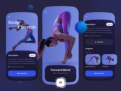 Fitness App fitness app dark ui dark theme player exercises yoga workout fitness visual design ux design ux ui design ui app