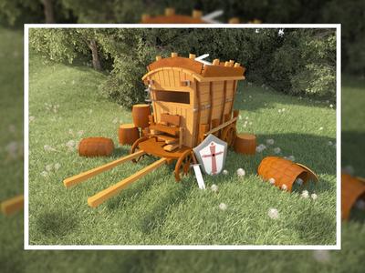 Horse cart : 3D asset design