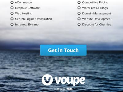 Voupe Website Sneak Peek II voupe logo logomark website freight sans rails photo landing button blue