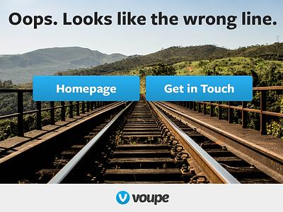 Voupe 404 voupe buttons trains rails 404 error blue logo logomark