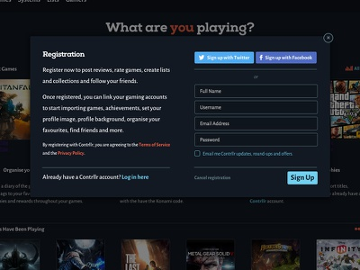 Contrllr Register Modal contrllr game register form modal type ux ui buttons social