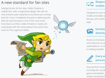 Zelda Timeline Homepage honepage web design zelda text image buttons blue