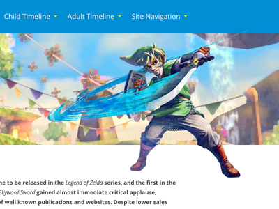 Zelda Timeline Game Page blue wordpress html design web ui zelda