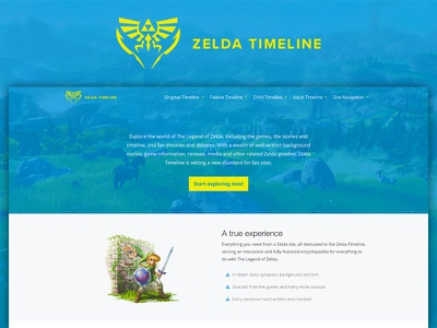 Zelda Timeline Home Page nav yellow blue wordpress html design web ui zelda
