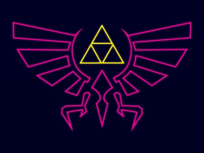 Neon Zelda poster neon pink yellow zelda triforce illustrator vector
