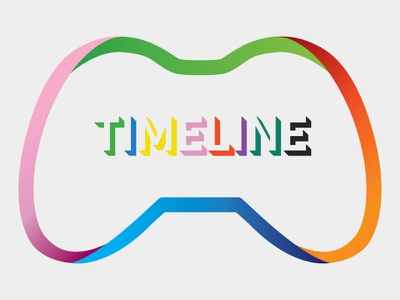 Timeline Logo game controller text gradient colour timeline mark logo