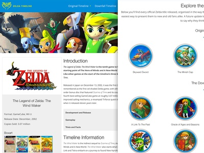 Zelda Timeline is Live! games zelda ios iphone development responsive blue ui design web
