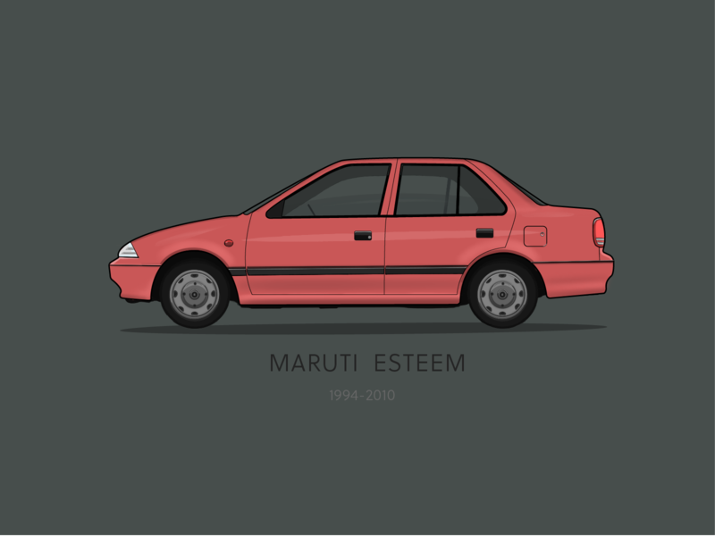 Maruti Esteem Digital Illustration old is gold four wheeler classic car indian car human factors vector penonpaper design automobile india illustration digital vehicle car vintage