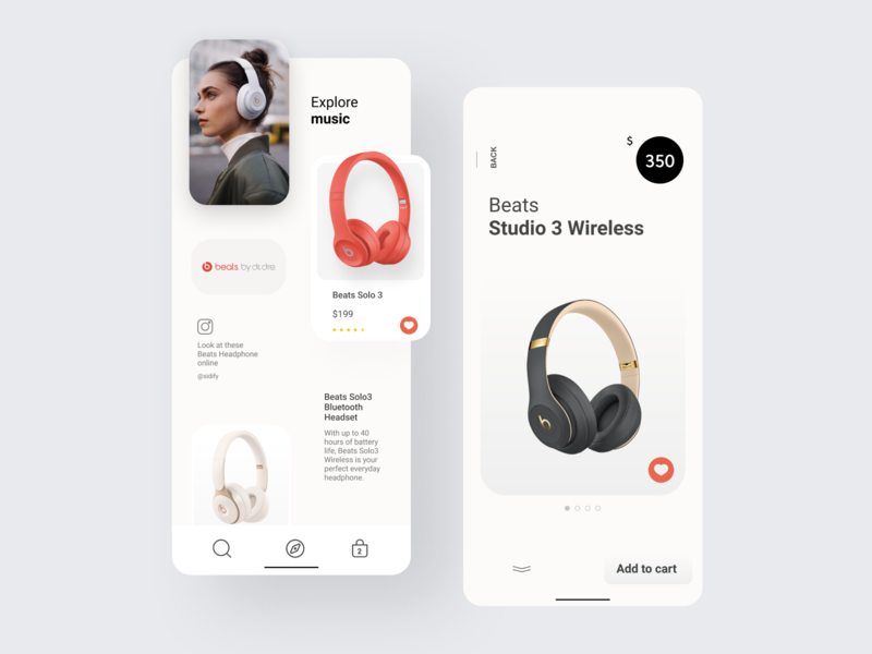Concept - Headphone App penonpaper design ui ux figmadesign figma uidesign ui apple ios minimal concept mobileapp app beats wireless headphone