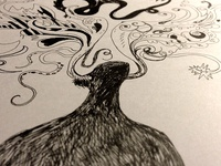 Creative horns Ink drawing