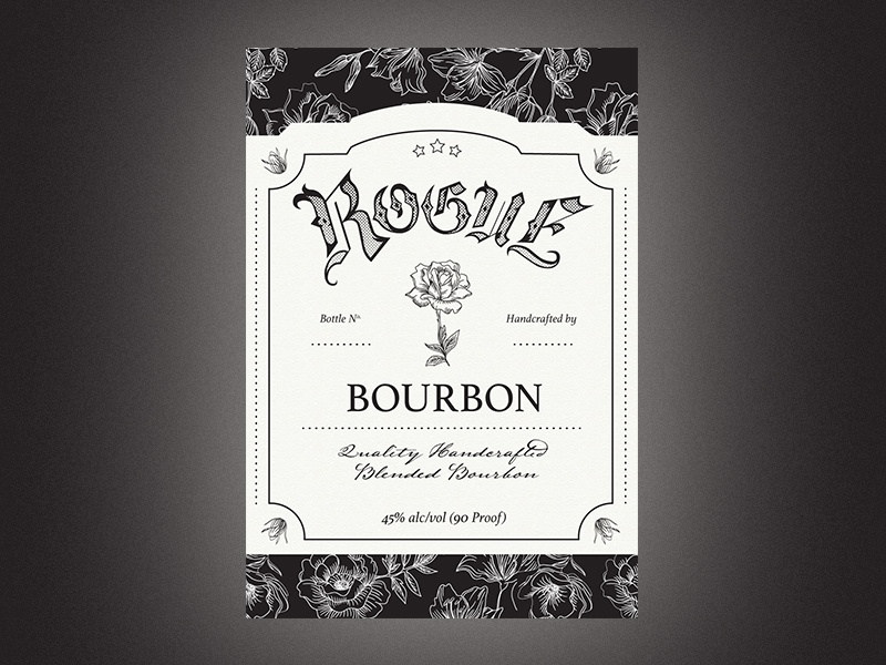 Rogue Bourbon hand-lettered illustration typography print label