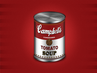 Iconic warhol design red can campbells tomato soup art