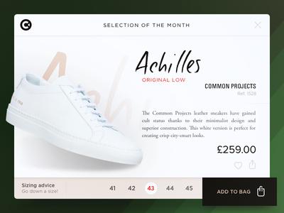 Achilles icon shopping card shoes cp achilles ui