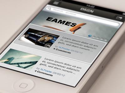 DSGN - iOS iPhone app eames brown blue grey searchbar navbar ios design blog ui iphone