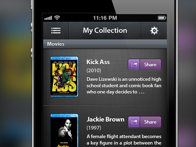 My Collection ios pattern library show tv video movie ux interface ui design app iphone