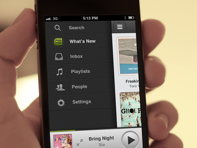 Spotify for iPhone (with moving gif) design iphone app spotify ux rdio music animation gif green ui logo icon