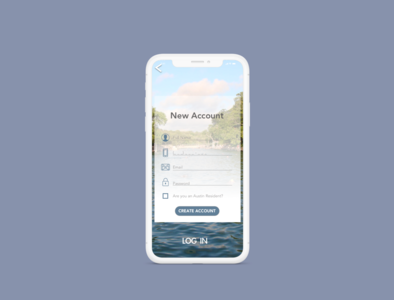 Barton Springs Mobile App Sign Up Screen