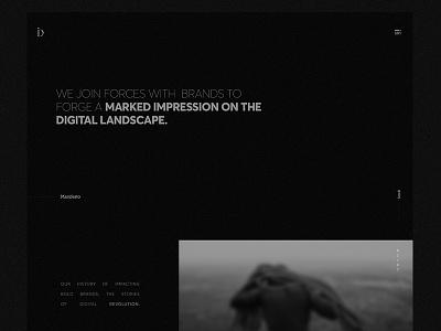 Involve Digital - Homepage. disruption digital id menu hamburger justified blur manifesto noise dark black bold