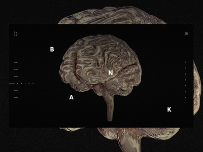 Involve Digital - Navigation. contact gold disruption digital id menu hamburger brain noise dark black bold