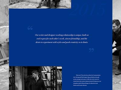 Samuel Burrows Portfolio. awards branding website parallax black and white blue responsive web design portfolio
