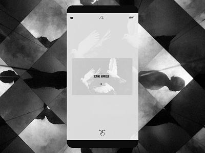 Personal Portfolio - Mobile swipe typography noise mobile website black and white minimal