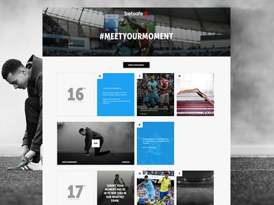 Betsafe - Meet Your Moment grid one page typography noise website black and white minimal