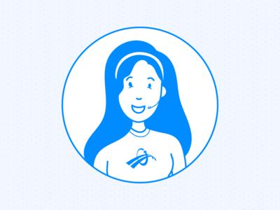 Care Agent | BlueLeap website uiux woman headset chat agent blue illustration