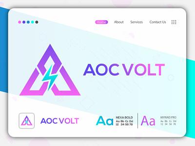 Aoc Volt professional logo creative logo brand identity logo and branding logo design gradient logo minimal logo minimalist logo modern logo flat logo