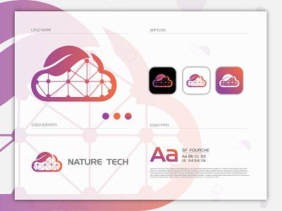 Nature Tech brand identity logo and branding cloud logo tech logo minimalist logo minimal logo logo design gradient logo modern logo flat logo
