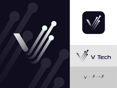 V Tech Logo best logo brand identity logo and branding startup logo professional logo creative logo minimalist logo minimal logo colorful logo gradient logo technology logo tech logo flat logo modern logo
