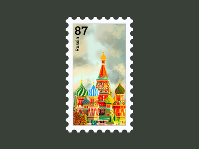 Russia Travel Stamp etsy shop etsy seller procreate vacations destination stamp travel stamp travel destination red square st. petersburg vector illustration design russian st. basils cathedral cathedral moscow