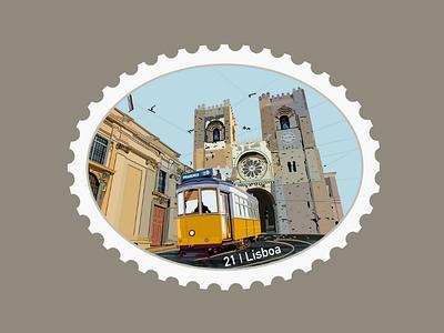 Lisboa Travel Stamp portuguese cathedral lisbon travel stamp procreate illustration etsy shop etsy seller destination stamp destination design travel cable car tram portugal
