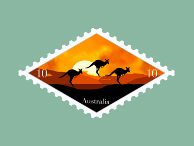 Australia Travel Stamp sydney kangaroo travel stamp travel procreate illustration etsy shop etsy seller destination stamp destination design australia stamp outback