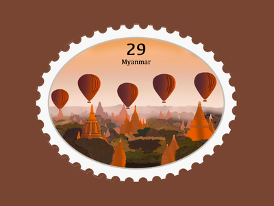 Myanmar Travel Stamp asia vacation travel stamp travel procreate illustration etsy shop etsy seller destination stamp destination design myanmar temple temple bagan hot air ballon