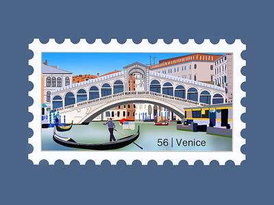 Venice Travel Stamp bridge canal italian vacation travel stamp travel procreate illustration etsy shop etsy seller destination stamp destination design gondalier gondola italy