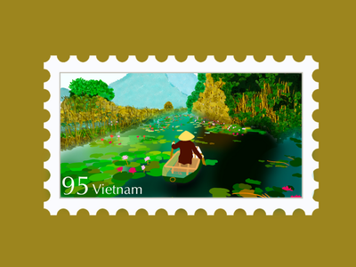 Vietnam Travel Stamp stamp sticker culture vacation asia procreate illustration travel stamp travel etsy shop etsy seller destination stamp destination design river water lilypad canoe kayak cajuput forest vietnamese