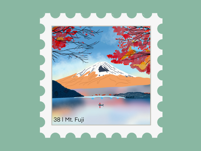 Mt. Fuji Travel Stamp hobby vacation stamp sticker sticker travel stamp travel etsy shop etsy seller destination stamp destination design national park volcano japan cherry blossom mountain climbing mountain backpacking mount fuji