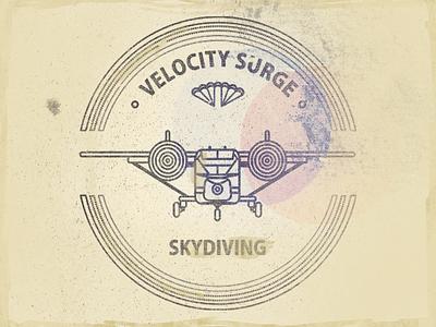Velocity Surge T Shirt Worn Look airplane skyvan retro vintage geometrical parachute van mark t-shirt print
